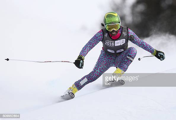 In this handout image supplied by the IOC Sabrina Simader of Kenya competes in Alpine Skiing Ladies' SuperG at the Hafjell Olympic Slope during the...