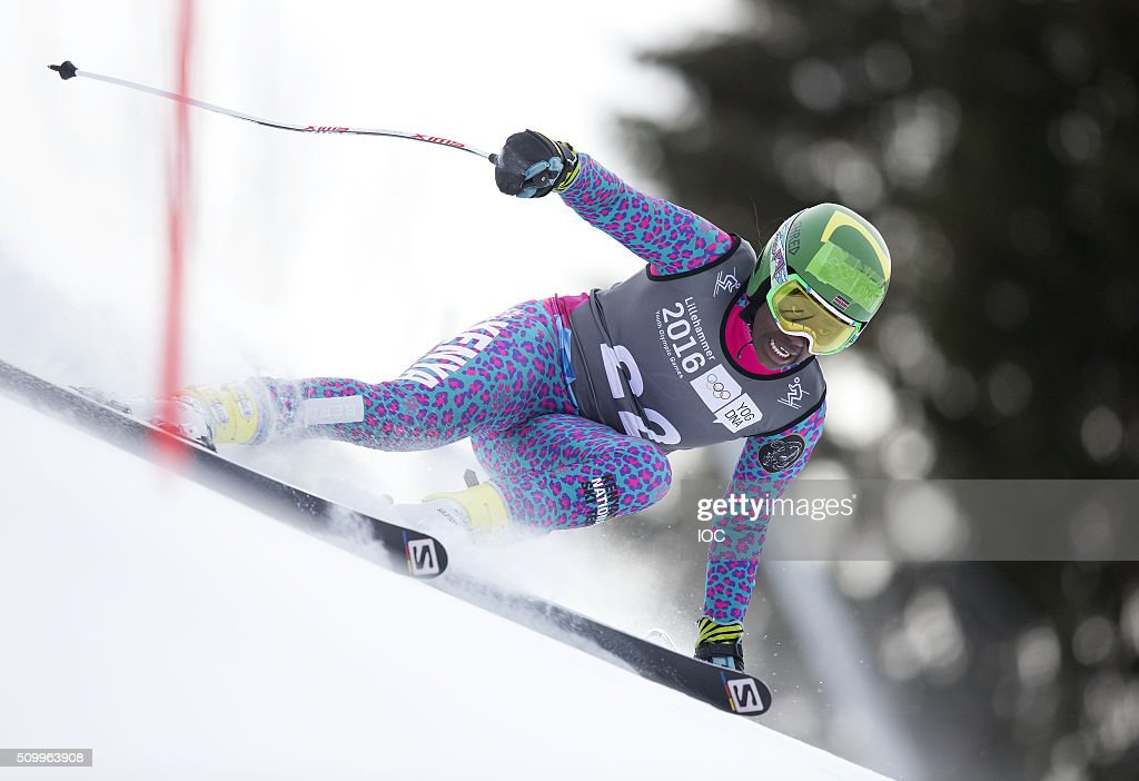 In this handout image supplied by the IOC, Sabrina Simader of Kenya competes in Alpine Skiing Ladies' Super-G at the Hafjell Olympic Slope during the Winter Youth Olympic Games on February 13, 2016 in Lillehammer, Norway.
