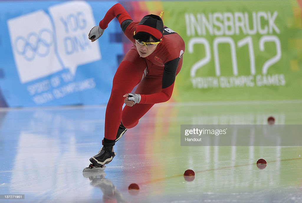 In this handout image supplied by the IOC (International Olympic Committee), Shi Xiaoxuan of China competes during the women's 500m speed skating at the Skating Oval during the Innsbruck 2012 Winter Youth Olympic Games, on January 14, 2012 in Innsbruck, Austria.