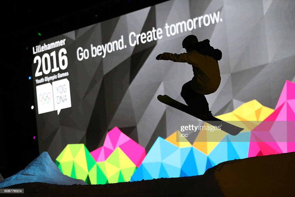 In this handout image supplied by the IOC, Skiers practicing at the Lysgardsbakkene Ski Jumping Arena ahead of the Opening Ceremony of the Winter Youth Olympic Games on February 12, 2016 in Lillehammer, Norway.