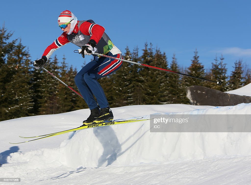 In this handout image supplied by the IOC, Vebjoern Hegdal of Norway during Ski Cross practise at Birkebeineren Cross Country Stadium during the Winter Youth Olympic Games on February 12, 2016 in Lillehammer, Norway.
