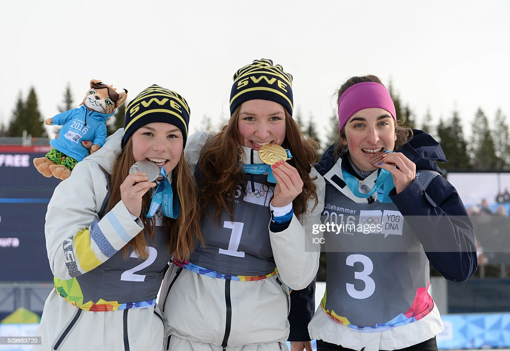 In this handout image supplied by the IOC, Winners of the Ladies' Cross-Country Cross Free Final 1st place Moa Lundgren of Sweden, 2nd Place Johanna Hagstroem of Sweden and 3rd place Laura Chamiot Mitral of France celebrate together during the Winter Youth Olympic Games on February 13, 2016 in Lillehammer, Norway.