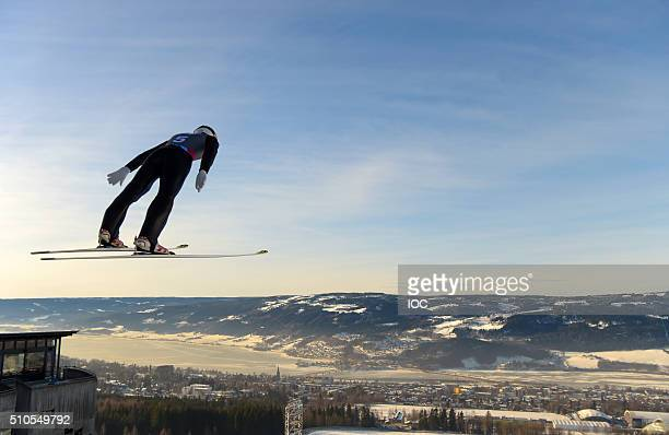 In this handout image supplied by the IOC Yoshihiro Kimura of Japan competes in the Nordic Combined Men's Individual Gundersen NH/5km Ski Jumping...