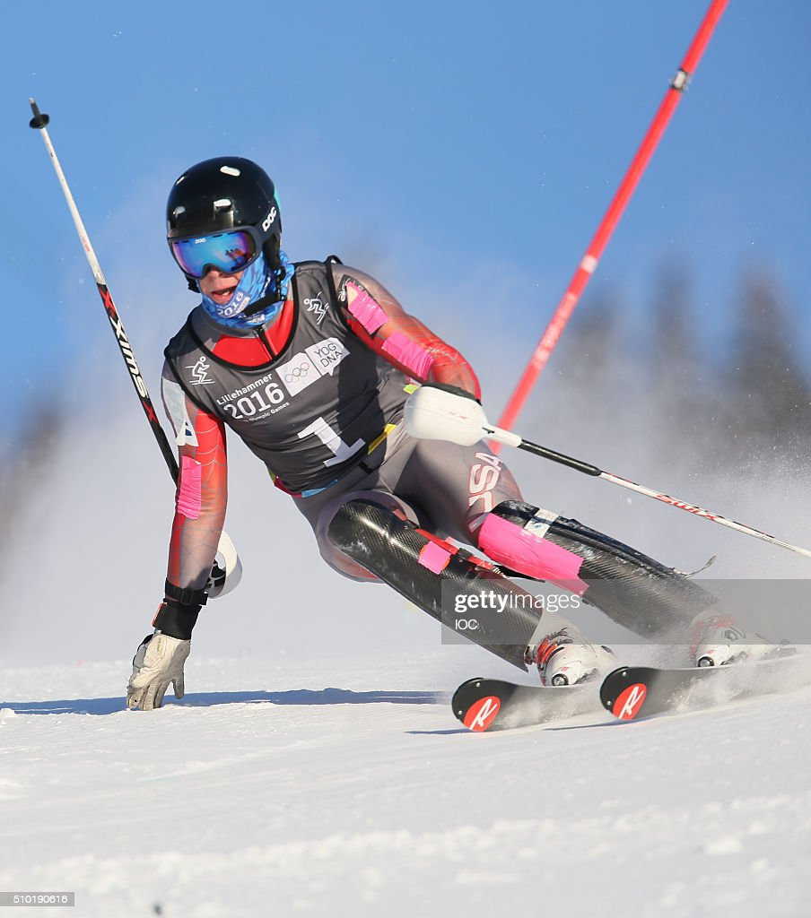In this handout image supplied by the IOCGold Medal Winner River Radamus USA in the Men's Alpine Combined Slalom during the Winter Youth Olympic Games, Lillehammer Norway, 14 February 2016.