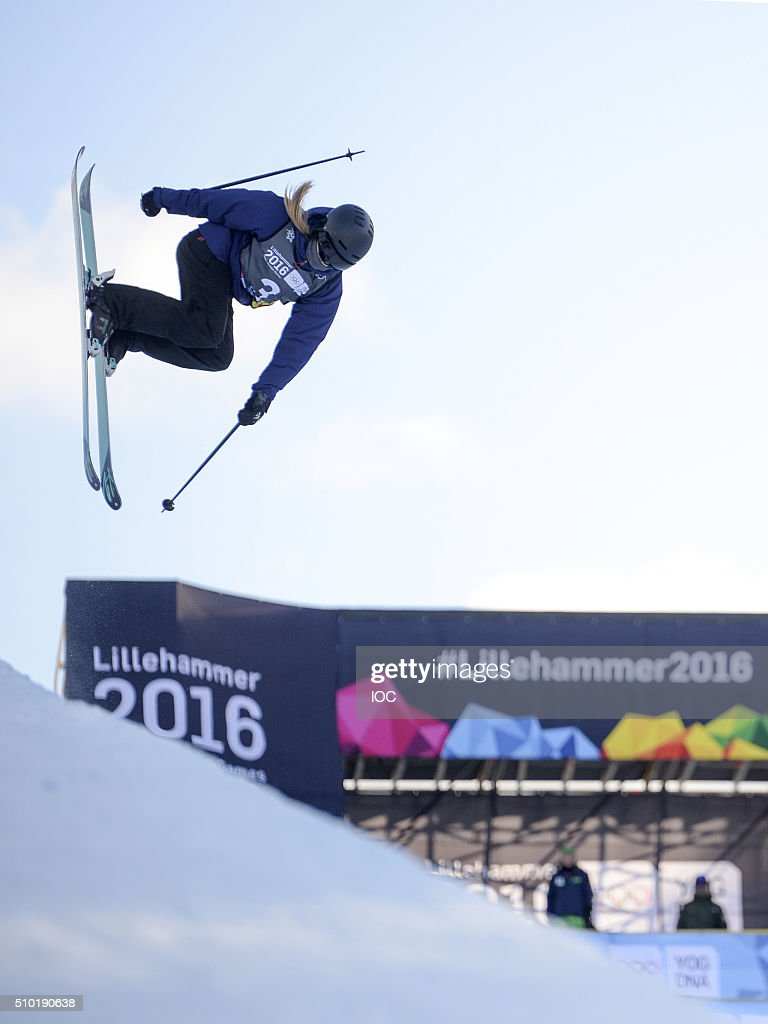 In this handout image supplied by the IOCMadison Rowlands GBR competes in the Freestyle Skiing Ladies' Ski Halfpipe Finals at Oslo Vinterpark Halfpipe during the Winter Youth Olympic Games, Lillehammer, Norway, 14 February 2016.