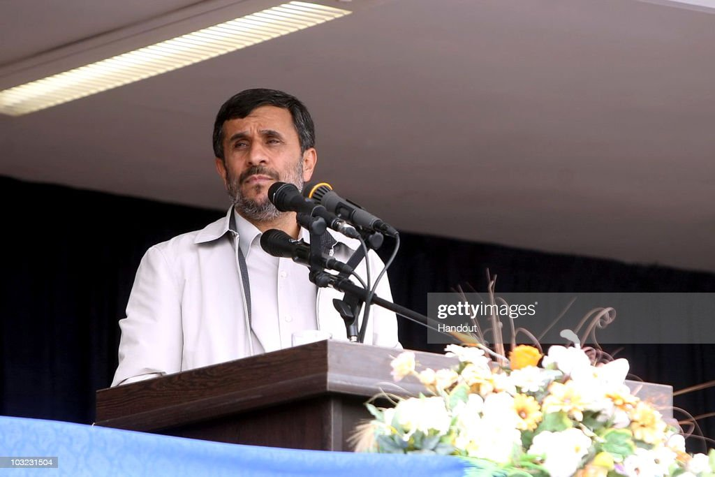 In this handout image supplied by the Iranian President's Office Iranian President Mahmoud Ahmadinejad delivers a speech on August 4 2010 in Hamadan...