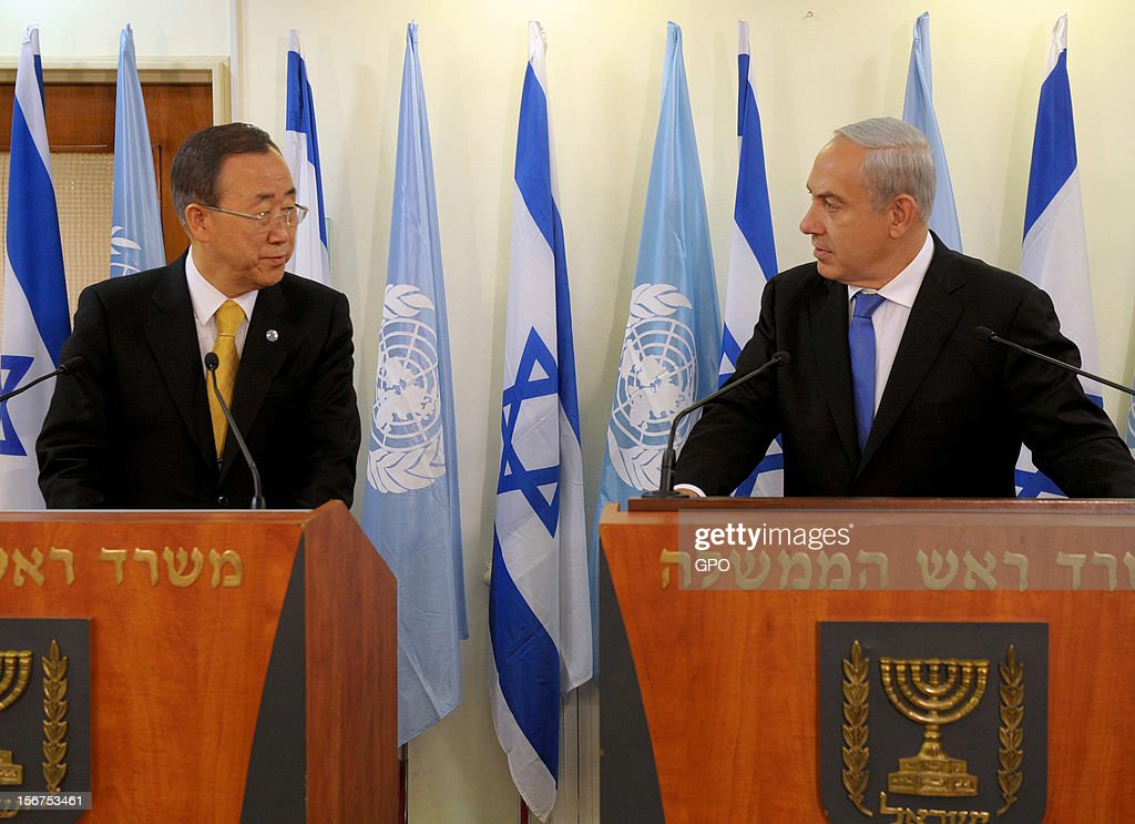 In this handout image supplied by the Israeli Governmant Press Office (GPO), United Nations Secretary-General Ban Ki-moon attends a press conference with Israeli Prime Minister Benjamin Netanyahu on November 20, 2012 in Jerusalem, Israel. Hamas militants and Israel are continuing talks aimed at a ceasefire as the death toll in Gaza reaches over 100 with three Israelis also having been killed by rockets fired by Palestinian militants.