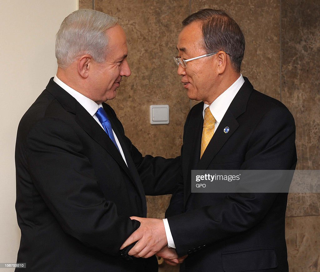 In this handout image supplied by the Israeli Governmant Press Office (GPO), United Nations Secretary-General Ban Ki-moon is greeted by Israeli Prime Minister Benjamin Netanyahu on November 20, 2012 in Jerusalem, Israel. Hamas militants and Israel are continuing talks aimed at a ceasefire as the death toll in Gaza reaches over 100 with three Israelis also having been killed by rockets fired by Palestinian militants.