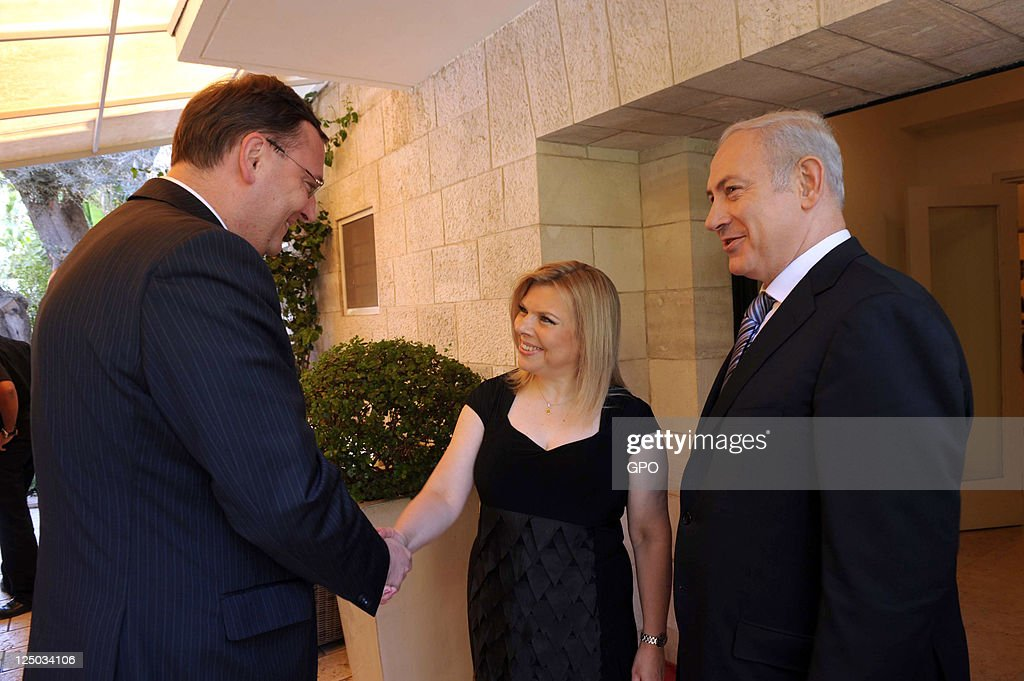 In this handout image supplied by the Israeli Government Press Office (GPO), Israeli Prime Minister Benjamin Netanyahu and his wife Sara greet Czech Prime Minister <a gi-track='captionPersonalityLinkClicked' href=/galleries/search?phrase=Petr+Necas&family=editorial&specificpeople=3014277 ng-click='$event.stopPropagation()'>Petr Necas</a> as he arrives to the prime minister's residence on September 15, 2011 in Jerusalem, Israel.
