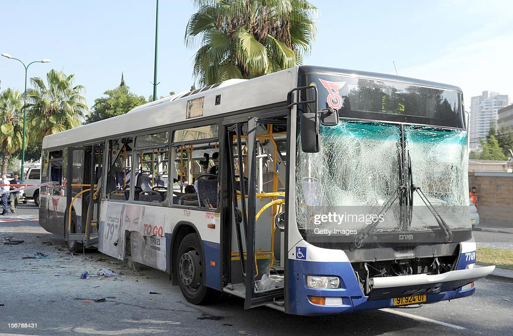 In this handout image supplied by the Israeli Government Press Office (GPO), is a general view of the scene after a bus exploded with passengers onboard on November 21, 2012 in central Tel Aviv, Israel. At least ten people have been injured in a blast on a bus near military headquarters in what is being described as terrorist attack which threatens to derail ongoing cease-fire negotiations between Israeli and Palestinian authorities.