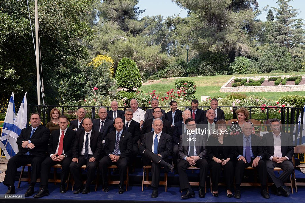 In this handout image supplied by the Israeli Government press office (GPO) Prime Minister Benjamin Netanyahu poses for a group picture with his cabinet at the Herzl Museum ahead of a cabinet meeting marking Jerusalem Day om May 5, 2013 in Jerusalem, Israel. Syria has accused Israel of launching rocket attacks on the Jamraya research centre in Damascus which, it is thought, is involved in the research of chemical weapons.