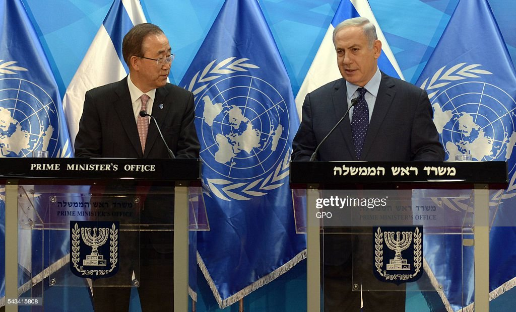In this handout image supplied by the Israeli Government Press Office (GPO), Israeli Prime Minister <a gi-track='captionPersonalityLinkClicked' href=/galleries/search?phrase=Benjamin+Netanyahu&family=editorial&specificpeople=118594 ng-click='$event.stopPropagation()'>Benjamin Netanyahu</a> (R) speaks next to UN Secretary General Ban Ki-moon as they deliver joint statements on June 28, 2016 in Jerusalem, Israel. Ban Ki-moon is on an official visit.