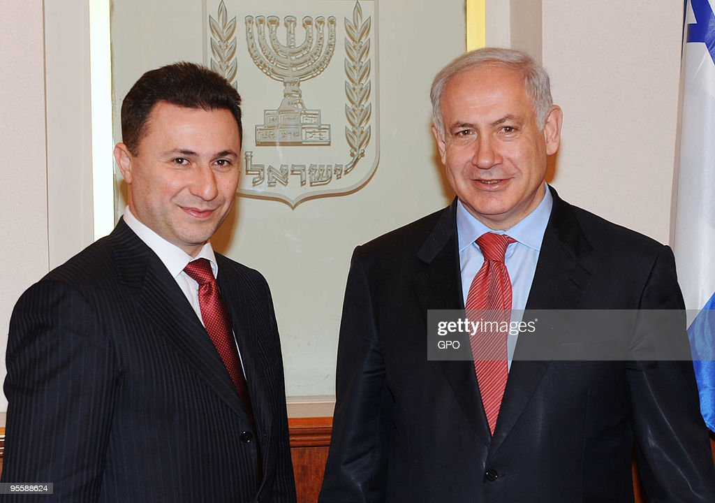In this handout image supplied by the Israeli Government Press Office (GPO), Israeli Prime Minister <a gi-track='captionPersonalityLinkClicked' href=/galleries/search?phrase=Benjamin+Netanyahu&family=editorial&specificpeople=118594 ng-click='$event.stopPropagation()'>Benjamin Netanyahu</a> (R) poses for a photograph with the Prime Minster of Macedonia <a gi-track='captionPersonalityLinkClicked' href=/galleries/search?phrase=Nikola+Gruevski&family=editorial&specificpeople=567539 ng-click='$event.stopPropagation()'>Nikola Gruevski</a> ahead of a meeting on January 5, 2010 in Jerusalem, Israel. The Macedonian Prime Minister met with his Israeli counterpart in Israel as part of a three-day visit that will also include meetings with President Shimon Peres and Foreign Minister Avigdor Lieberman.