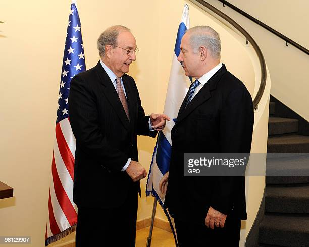 In this handout image supplied by the Israeli Government Press Office Israeli Prime Minister Benjamin Netanyahu speaks with US Middle East Envoy...
