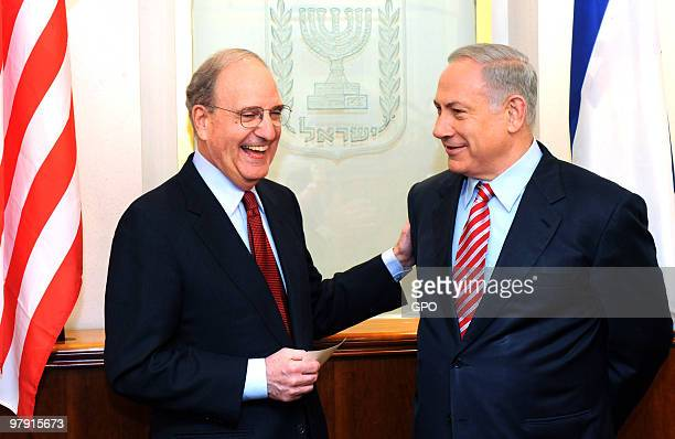 In this handout image supplied by the Israeli Government Press Office Israel's Prime Minister Benjamin Netanyahu meets with US envoy George Mitchell...