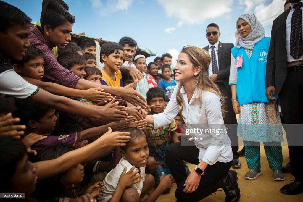 Queen Rania Of Jordan Visits Rohingya Refugees In Bangladesh