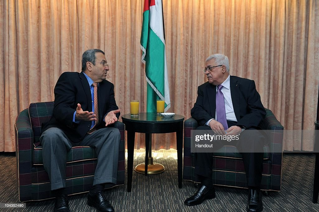 In this handout image supplied by the Office of the Palestinian President, President <a gi-track='captionPersonalityLinkClicked' href=/galleries/search?phrase=Mahmoud+Abbas&family=editorial&specificpeople=176534 ng-click='$event.stopPropagation()'>Mahmoud Abbas</a> (R) meets with Israeli Defense Minister <a gi-track='captionPersonalityLinkClicked' href=/galleries/search?phrase=Ehud+Barak&family=editorial&specificpeople=202888 ng-click='$event.stopPropagation()'>Ehud Barak</a> on September 22, 2010 in New York. The two are in New York to attend the United Nations General Assembly, along with nearly 140 other world leaders during the three-day summit on ending global poverty, hunger and disease within the next five years.