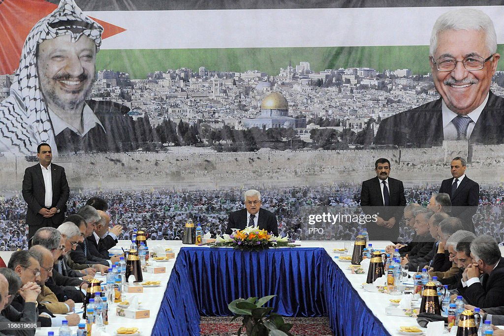 In this handout image supplied by the office of the Palestinian president, Palestinian President <a gi-track='captionPersonalityLinkClicked' href=/galleries/search?phrase=Mahmoud+Abbas&family=editorial&specificpeople=176534 ng-click='$event.stopPropagation()'>Mahmoud Abbas</a> attends a meeting of the Palestinian leadership on November 16, 2012 in Ramallah, West Bank. Abbas has reportedly reached out to Arab and Western leaders for aid in the face of the heightening conflict between Israel and Gaza.