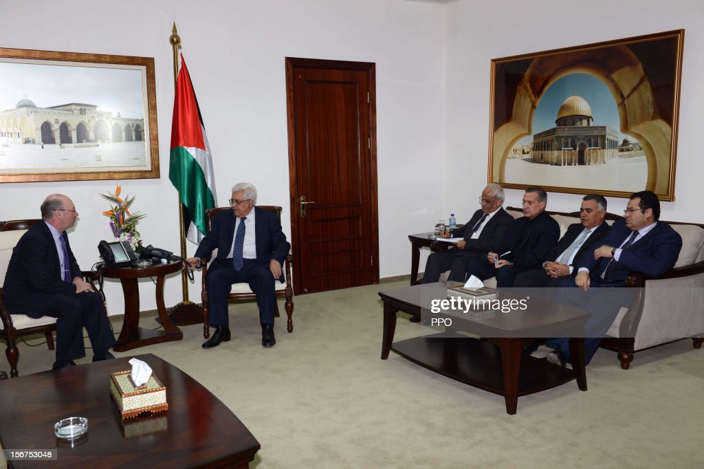 In this handout image supplied by the office of the Palestinian president, Palestinian President Mahmoud Abbas (2L) meets with British Foreign Office Minister for the Middle East and North Africa Alistair Burt (L) on November 20, 2012 in Ramallah, West Bank. Abbas is preparing to make an appeal to the United Nations on November 29 to grant nonmember status to the Palestinian Authority even as leader of Hamas Khaled Meshal holds truce talks in Cairo with leaders from Egypt, Qatar and Turkey.