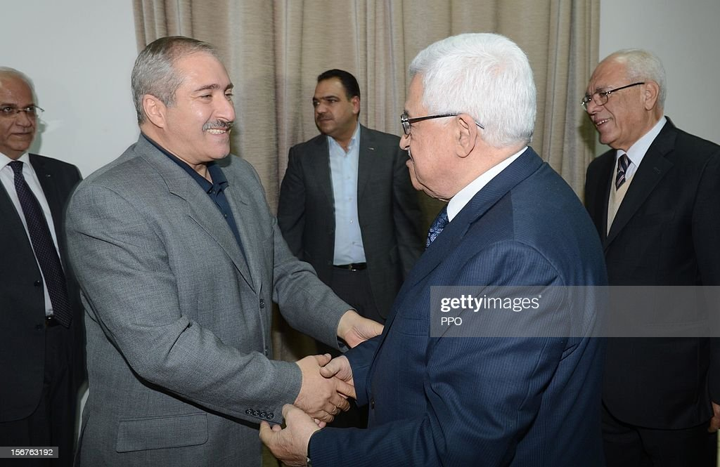 In this handout image supplied by the office of the Palestinian president, Palestinian President <a gi-track='captionPersonalityLinkClicked' href=/galleries/search?phrase=Mahmoud+Abbas&family=editorial&specificpeople=176534 ng-click='$event.stopPropagation()'>Mahmoud Abbas</a> (R) meets with Jordanian Foreign Minister <a gi-track='captionPersonalityLinkClicked' href=/galleries/search?phrase=Nasser+Judeh&family=editorial&specificpeople=3465453 ng-click='$event.stopPropagation()'>Nasser Judeh</a> on November 20, 2012 in Ramallah, West Bank. Abbas is preparing to make an appeal to the United Nations on November 29 to grant nonmember status to the Palestinian Authority as efforts by Western and Arab diplomats to end the confrontation between Israel and Gaza have escalated.
