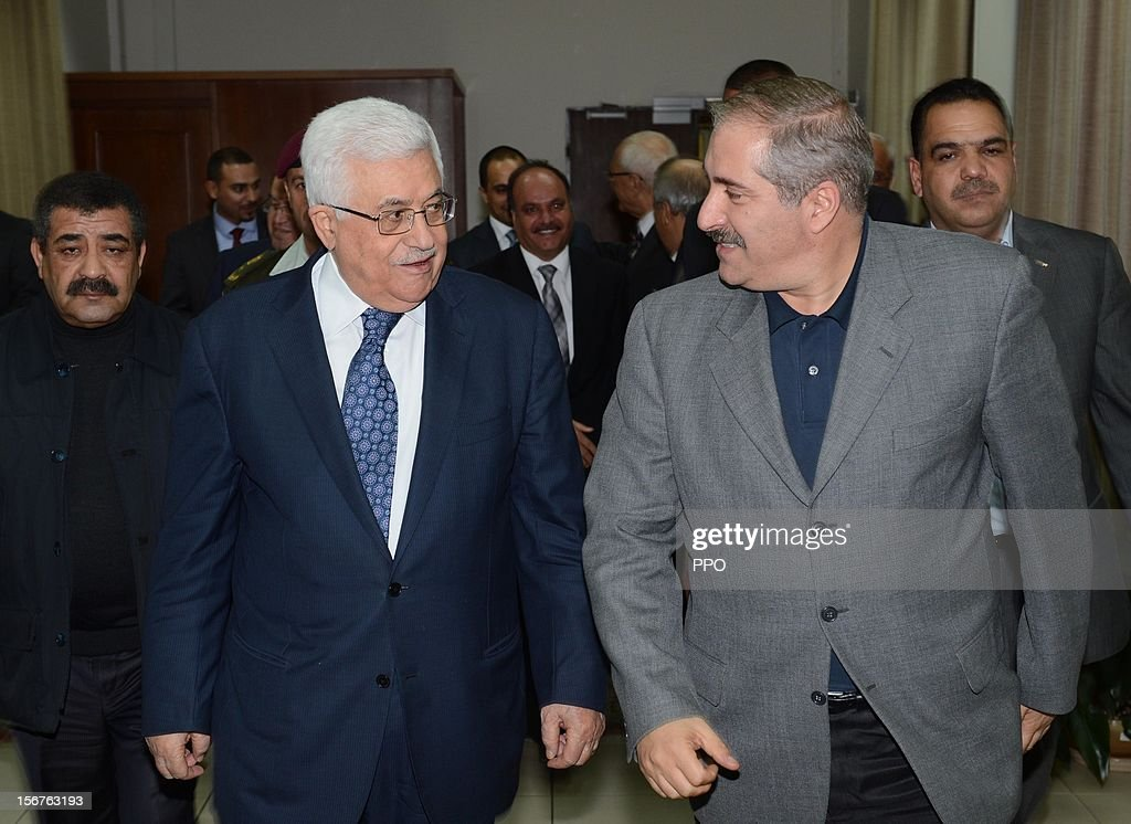 In this handout image supplied by the office of the Palestinian president, Palestinian President Mahmoud Abbas (L) meets with Jordanian Foreign Minister <a gi-track='captionPersonalityLinkClicked' href=/galleries/search?phrase=Nasser+Judeh&family=editorial&specificpeople=3465453 ng-click='$event.stopPropagation()'>Nasser Judeh</a> on November 20, 2012 in Ramallah, West Bank. Abbas is preparing to make an appeal to the United Nations on November 29 to grant nonmember status to the Palestinian Authority as efforts by Western and Arab diplomats to end the confrontation between Israel and Gaza have escalated.