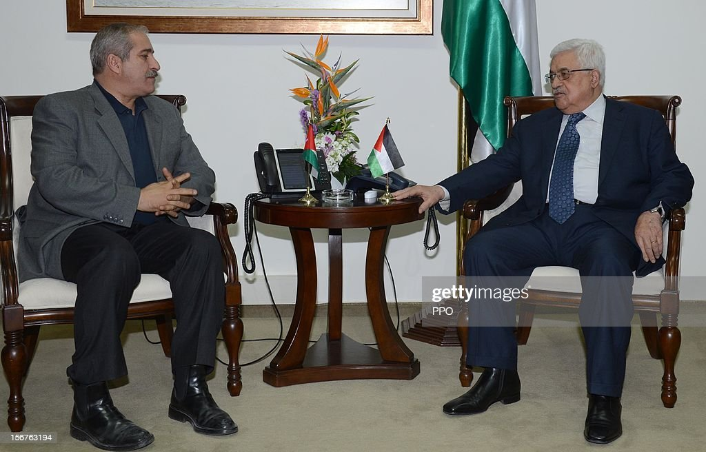 In this handout image supplied by the office of the Palestinian president, Palestinian President Mahmoud Abbas (R) meets with Jordanian Foreign Minister Nasser Judeh on November 20, 2012 in Ramallah, West Bank. Abbas is preparing to make an appeal to the United Nations on November 29 to grant nonmember status to the Palestinian Authority as efforts by Western and Arab diplomats to end the confrontation between Israel and Gaza have escalated.
