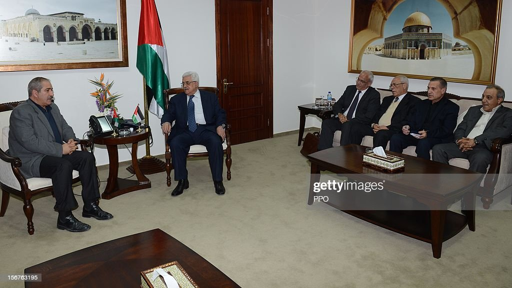 In this handout image supplied by the office of the Palestinian president, Palestinian President Mahmoud Abbas (2L) meets with Jordanian Foreign Minister Nasser Judeh (L) on November 20, 2012 in Ramallah, West Bank. Abbas is preparing to make an appeal to the United Nations on November 29 to grant nonmember status to the Palestinian Authority as efforts by Western and Arab diplomats to end the confrontation between Israel and Gaza have escalated.