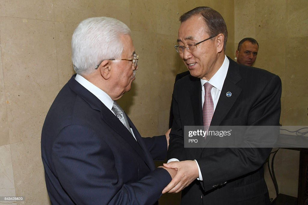 In this handout image supplied by the Office of the Palestinian President (PPO), Palestinian President Mahmoud Abbas meets with UN Secretary General Ban Ki-moon on June 28, 2016 in Ramallah, West Bank.