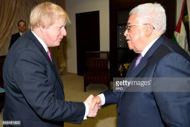 In this handout image supplied by the Office of the Palestinian President Palestinian President Mahmoud Abbas meets with British Foreign Secretary...