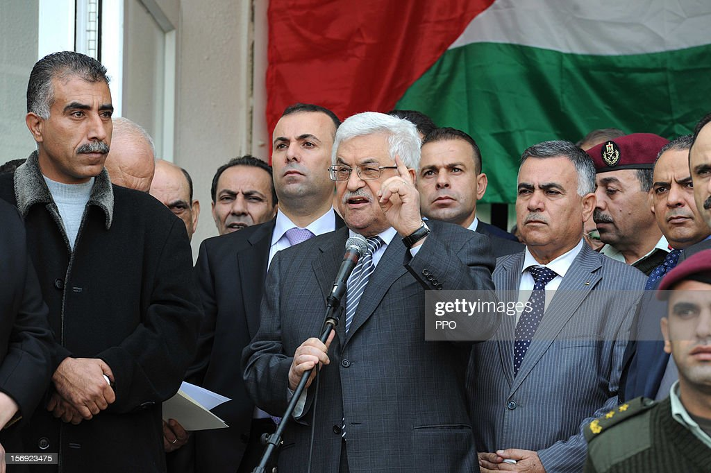 In this handout image supplied by the Palestinian President's Office (PPO), <a gi-track='captionPersonalityLinkClicked' href=/galleries/search?phrase=Mahmoud+Abbas&family=editorial&specificpeople=176534 ng-click='$event.stopPropagation()'>Mahmoud Abbas</a> speaks to crowds of supporters before heading to the United Nations on November 25, 2012 in Ramallah, West Bank. Abbas will make a bid for UN non-member observer state status on November 29 to the UN General Assembly.