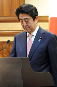 In this handout image supplied by the Palestinian President's Office Japanese Prime Minister Shinzo Abe attends a press conference with Palestinian...