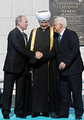 In this handout image supplied by the Palestinian President's Office Russian President Vladimir Putin Russian Grand Mufti Ravil Gainutdin and...