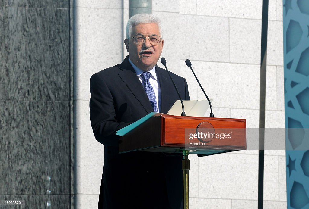 In this handout image supplied by the Palestinian President's Office (PPO), Palestian President <a gi-track='captionPersonalityLinkClicked' href=/galleries/search?phrase=Mahmoud+Abbas&family=editorial&specificpeople=176534 ng-click='$event.stopPropagation()'>Mahmoud Abbas</a> speaks during an opening ceremony for the newly restored Moscow Cathedral Mosque on September 23, 2015 in Moscow, Russia.