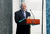 In this handout image supplied by the Palestinian President's Office Palestian President Mahmoud Abbas speaks during an opening ceremony for the...