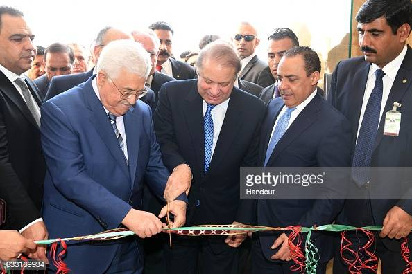 In this handout image supplied by the Palestinian President's Office President Mahmoud Abbas and Prime Minister Nawaz Sharif of Pakistan jointly...