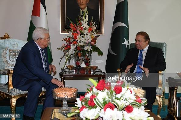 In this handout image supplied by the Palestinian President's Office President Mahmoud Abbas meets with Prime Minister Nawaz Sharif of Pakistan...