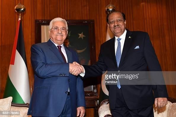 In this handout image supplied by the Palestinian President's Office President Mahmoud Abbas meets with Pakistani President Mamnoon Hussain January...