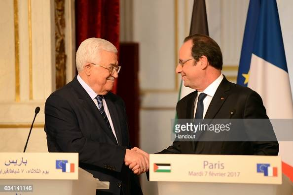 In this handout image supplied by the Palestinian President's Office President Mahmoud Abbas speaks at a press conference with President Francois...