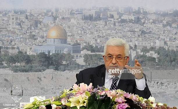 In this handout image supplied by the Palestinian Press Office Palestinian President Mahmoud Abbas makes a speech to confirm that the Palestinian...