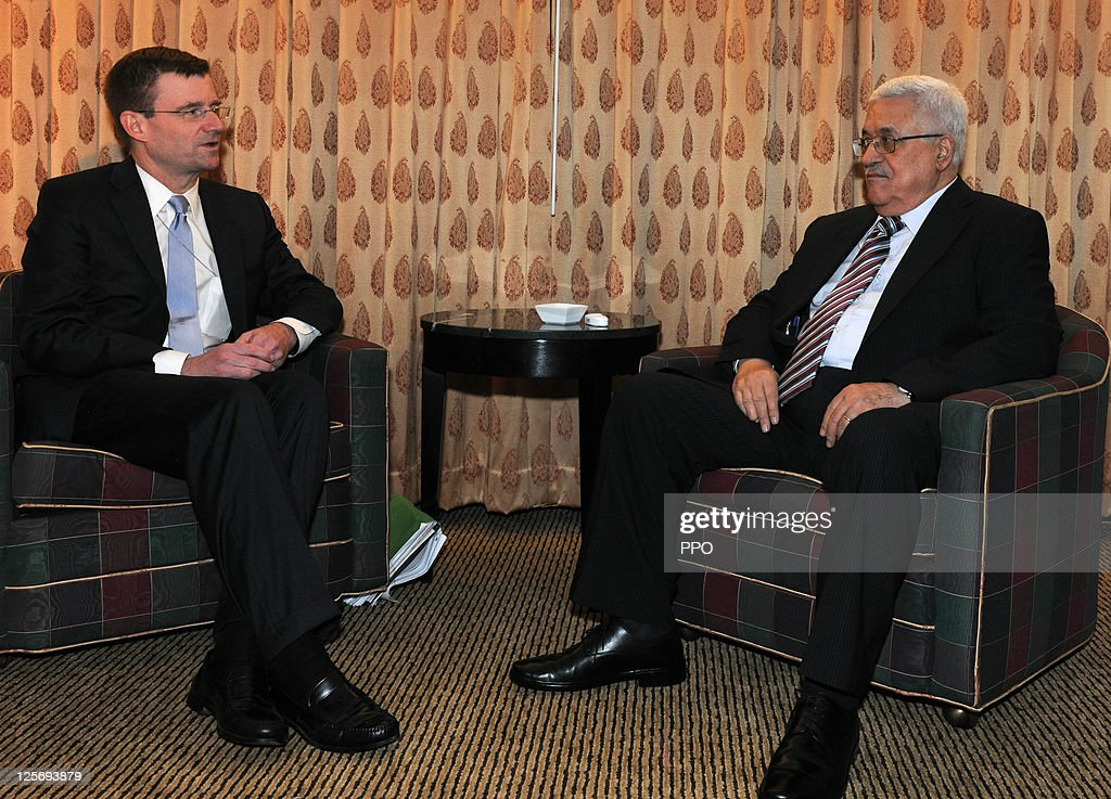 In this handout image supplied by the Palestinian Press Office (PPO), Palestinian President Mahmoud Abbas (R) meets with U.S. envoy <a gi-track='captionPersonalityLinkClicked' href=/galleries/search?phrase=Dennis+Ross&family=editorial&specificpeople=1062521 ng-click='$event.stopPropagation()'>Dennis Ross</a> on September 20, 2011 in New York City. President Abbas will formally submit the application for Palestinian statehood to the 66th United Nations General Assembly in New York on September 20th. The Palestinians and the Israelis are taking part in global diplomatic lobbying to win support for their differing positions on statehood. The Palestinian bid arises from two decades of on-and-off peace talks that have failed to produce a deal. The ultimate goal of the Palestinian Authority is to end Israeli occupation and to establish a sovereign and independent state on the 1967 borders with Jerusalem as its capital.