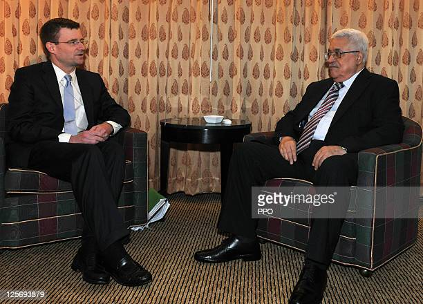 In this handout image supplied by the Palestinian Press Office Palestinian President Mahmoud Abbas meets with US envoy Dennis Ross on September 20...