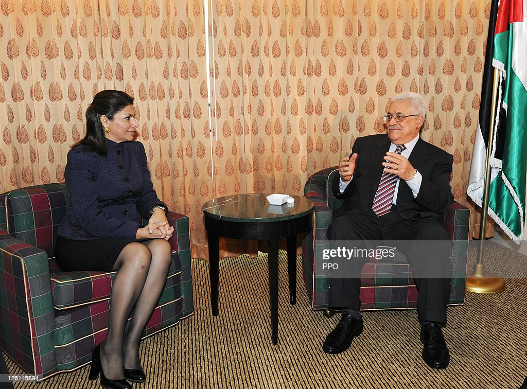 In this handout image supplied by the Palestinian Press Office Palestinian President Mahmoud Abbas meets with Costa Rican President Laura Chinchilla...