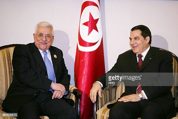 In this handout image supplied by the Palestinian Press Office Palestinian Leader Mahmoud Abbas meets with Tunisian President Zine El Abidine Ben Ali...