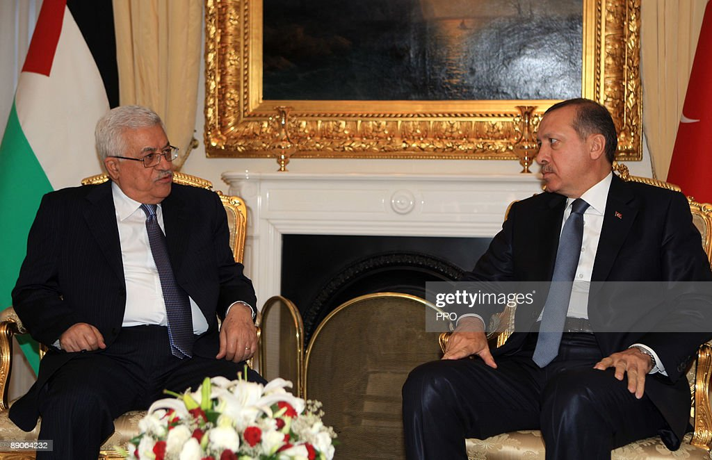 In this handout image supplied by the Palestinian Press Office (PPO), Palestinian President Mahmoud Abbas (L) speaks with with Turkish Prime Minister Recep Tayyip Erdogan on July 16, 2009 in Ankara, Turkey. The Palestinian President arrives in Turkey to discuss the peace process in the Middle East.