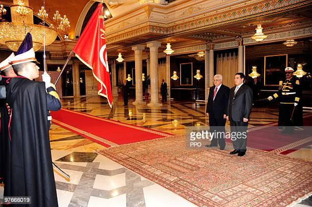 In this handout image supplied by the Palestinian Press Office Palestinian President Mahmoud Abbas Abu Mazen meets with Tunisian President Zine El...