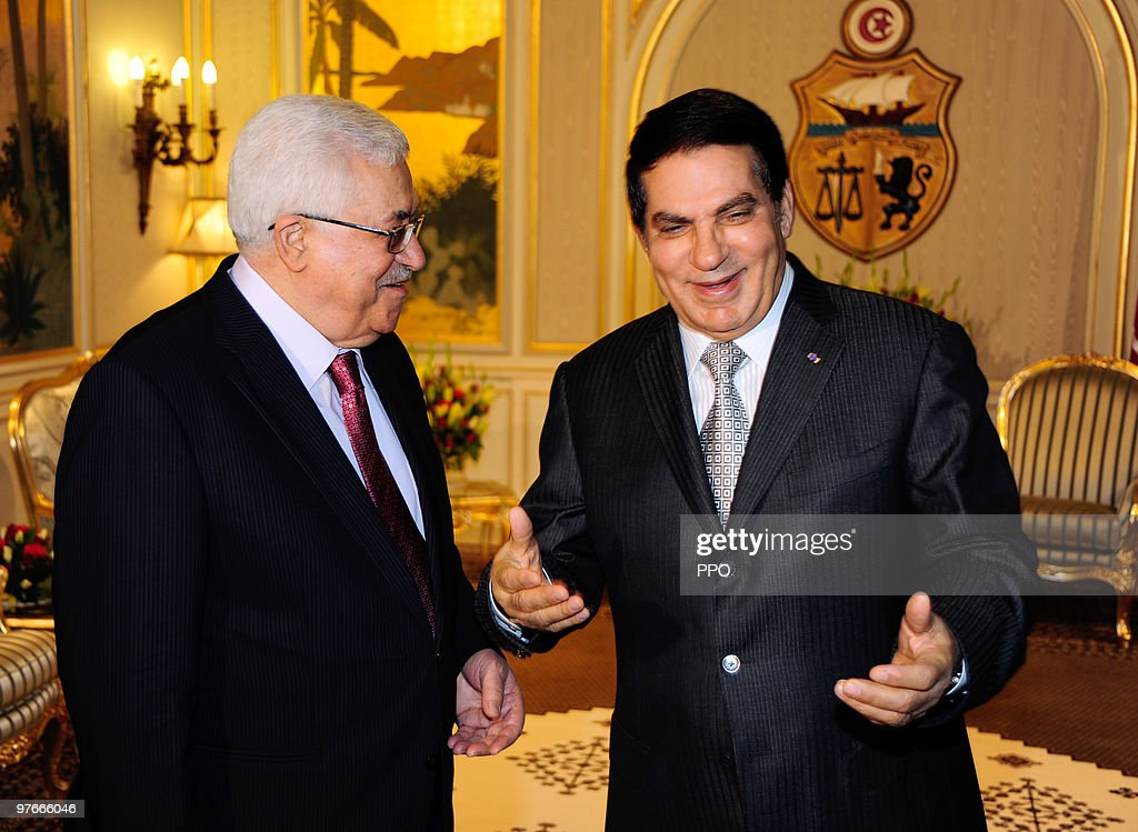 In this handout image supplied by the Palestinian Press Office (PPO), Palestinian President Mahmoud Abbas Abu Mazen meets with Tunisian President <a gi-track='captionPersonalityLinkClicked' href=/galleries/search?phrase=Zine+El+Abidine+Ben+Ali&family=editorial&specificpeople=598987 ng-click='$event.stopPropagation()'>Zine El Abidine Ben Ali</a> at the presidential palace in Carthage, Tunisia on Friday, 12 March 2010. President Mahmoud Abbas Abu Mazen is in Tunisia on a two day official visit on the invitation from President <a gi-track='captionPersonalityLinkClicked' href=/galleries/search?phrase=Zine+El+Abidine+Ben+Ali&family=editorial&specificpeople=598987 ng-click='$event.stopPropagation()'>Zine El Abidine Ben Ali</a>.