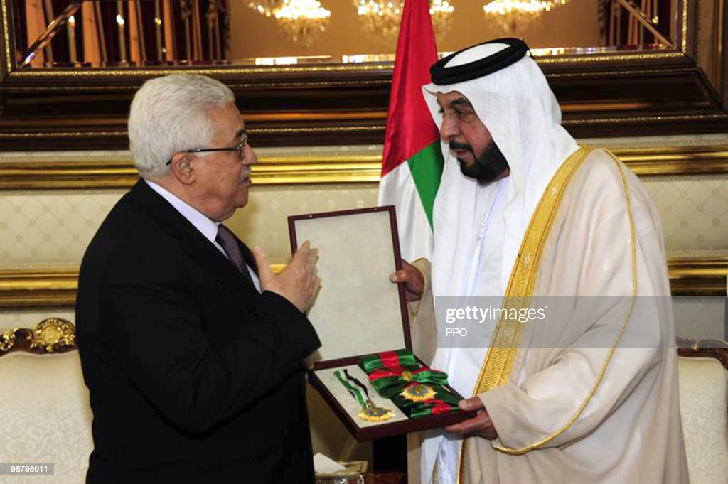 In this handout image supplied by the Palestinian Press Office (PPO), Palestinian President <a gi-track='captionPersonalityLinkClicked' href=/galleries/search?phrase=Mahmoud+Abbas&family=editorial&specificpeople=176534 ng-click='$event.stopPropagation()'>Mahmoud Abbas</a> (L) meets with United Arab Emirates President Sheikh Khalifa bin Zayed Al Nahyan May 2, 2010 in Abu Dhabi, United Arab Emirates. Yesterday, Abbas announced that U.S.-backed proximity talks with Israel were approved by the PLO's executive committee.