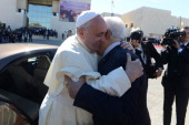 In this handout image supplied by the Palestinian Press Ofiice Palestinian President Mahmoud Abbas greets Pope Francis on May 25 Ramallah West Bank...