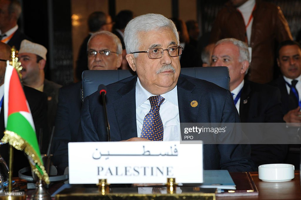 In this handout image supplied by the PPO (Palestinian Presidents Office), Palestinian President <a gi-track='captionPersonalityLinkClicked' href=/galleries/search?phrase=Mahmoud+Abbas&family=editorial&specificpeople=176534 ng-click='$event.stopPropagation()'>Mahmoud Abbas</a> attends a meeting of the Islamic Summit on February 6, 2013 in Cairo, Egypt. The leaders of 56 Islamic states are gathering in Cairo for a meeting of the Organisation of Islamic Co-Operation (OIC), which will focus on the Syrian crisis.