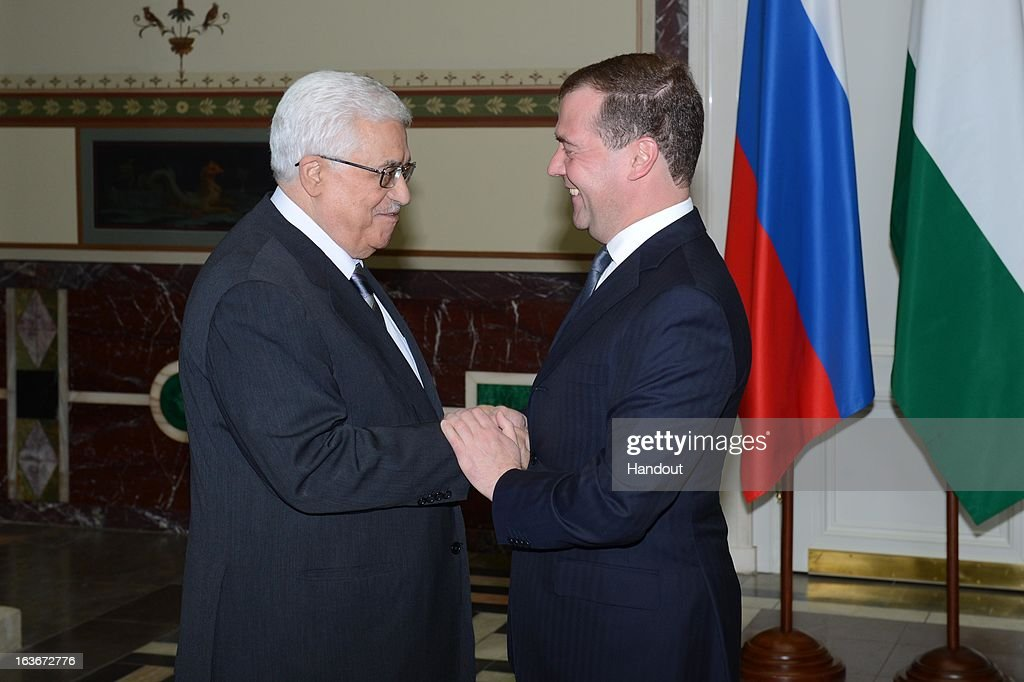 In this handout image supplied by the PPO (Palestinian Presidents Office), Palestinian President Mahmoud Abbas shakes hands with Russian Prime Minister Dmitry Medvedev on March 14, 2013 in Moscow, Russia. According to reports Abbas, on his first visit to Russia since the Palestinians won observer status in the United Nations General Assembly last year, said he was hopefully for a resumption in peace talks with Israel.